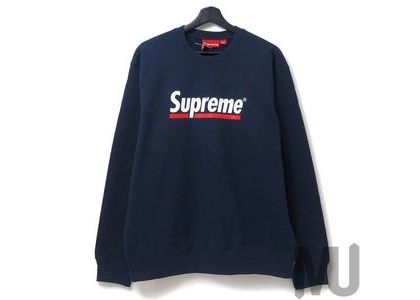 Supreme Underline Crewneck Navyの写真