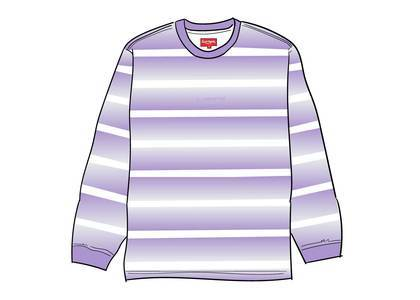 Supreme Fade Stripe L-S Top Purpleの写真