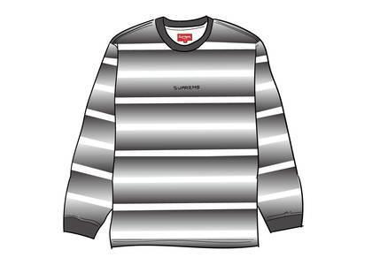 Supreme Fade Stripe L-S Top Blackの写真
