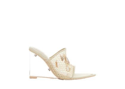 YELLO Shellection Mesh Wedge Sandals Beigeの写真