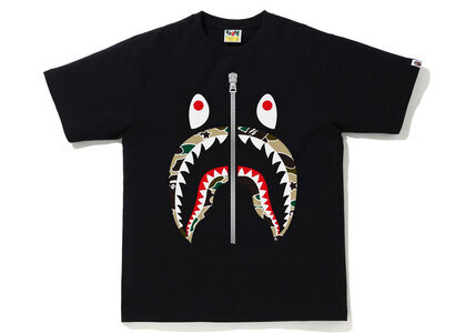 Bape STA Camo Shark Tee Mens Black x Yellow (SS21)の写真