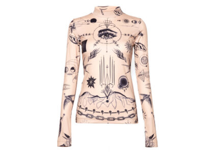sacai x Jean Paul Gaultier Print Long Sleeve T-Shirt Beigeの写真