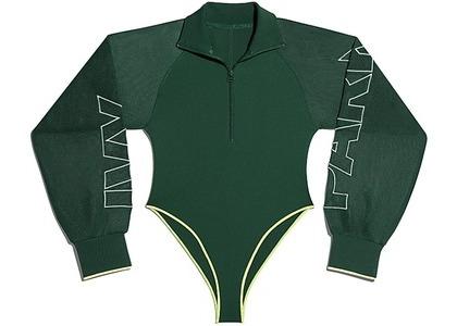 adidas Ivy Park Mesh Sleeve Bodysuit Dark Green/Hi-Res Yellow (FW20)の写真
