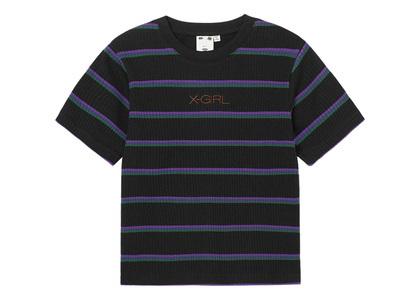 X-girl Multi Stripe Baby S/S Top Blackの写真
