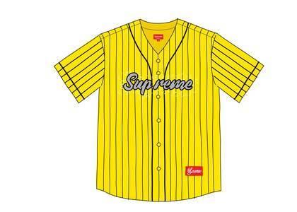 Supreme Rhinestone Baseball Jersey Yellowの写真