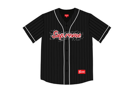 Supreme Rhinestone Baseball Jersey Blackの写真