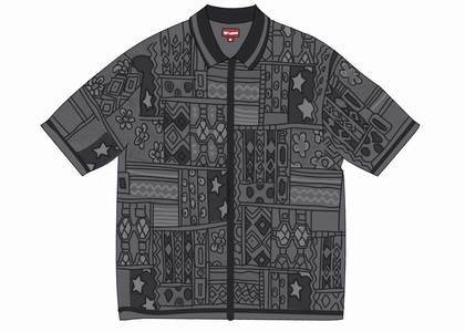 Supreme Patchwork Knit Zip Up Polo Blackの写真