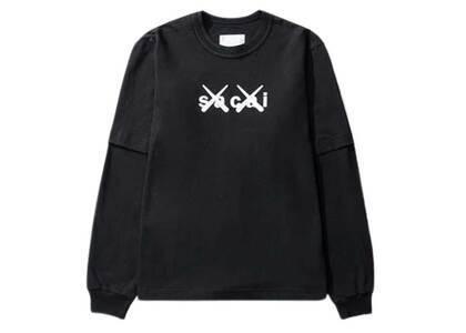 KAWS × Sacai Flock Print Long Sleeve T-shirt Blackの写真