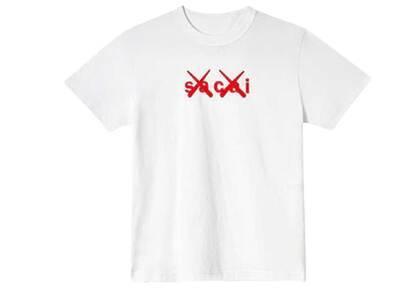 KAWS × Sacai Flock Print T-shirt White/Redの写真