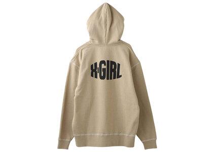 X-girl Curved Logo Zip Up Sweat Hoodie Beigeの写真