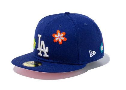 New Era 59FIFTY Chain Stitch Floral Los Angeles Dodgers Pink Under Visor Blueの写真