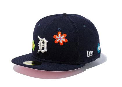 New Era 59FIFTY Chain Stitch Floral Detroit Tigers Pink Under Visor Navyの写真