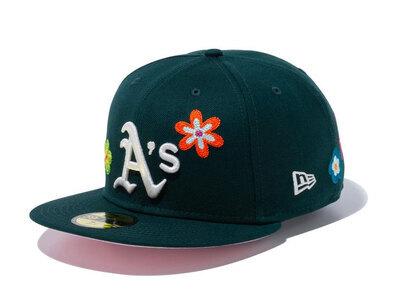 New Era 59FIFTY Chain Stitch Floral Oakland Athletics Pink Under Visor Greenの写真