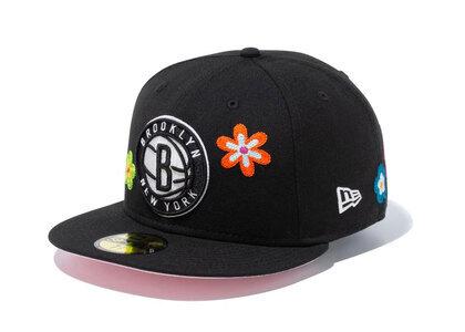 New Era 59FIFTY Chain Stitch Floral Brooklyn Nets Pink Under Visor Blackの写真