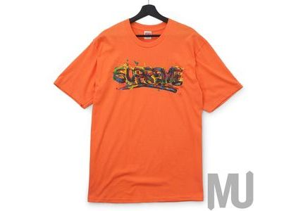 Supreme Paint Logo Tee Neon Orangeの写真