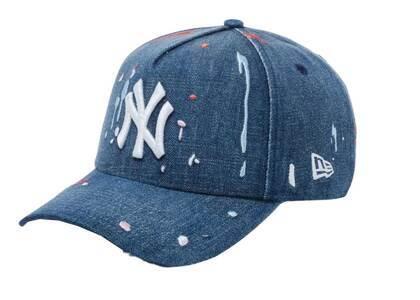 New Era 9FORTY A-Frame New York Yankees Splash Embroidery Washed Denim Snow Whiteの写真