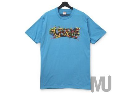 Supreme Paint Logo Tee Light Slateの写真