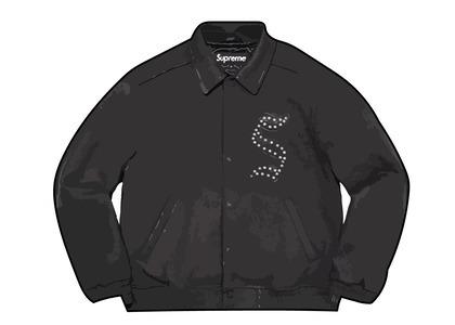 Supreme Pebbled Leather Varsity Jacket Black (FW21)の写真