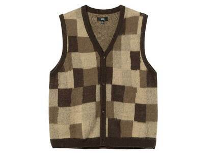 Stussy Wobbly Check Sweater Vest Brown (FW21)の写真