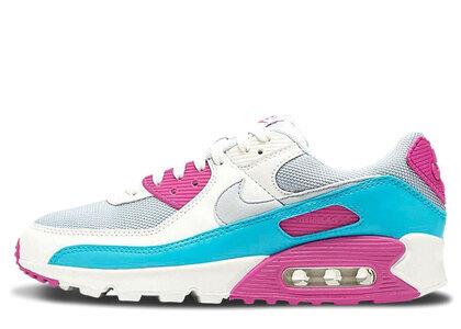 Nike Air Max 90 White Vivid Pink Light Blue Fury Womensの写真