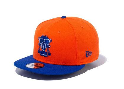New Era 9FIFTY COMPOUND Gas Mask NBA New York Knicks Orange Blue Visorの写真