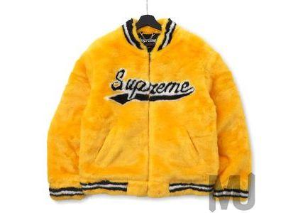 Supreme Faux Fur Varsity Jacket Yellowの写真