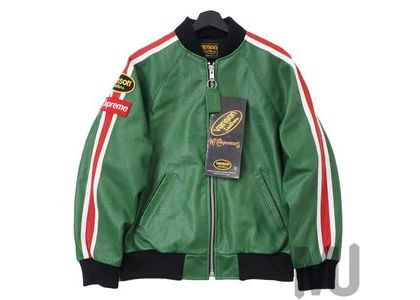 Supreme Vanson Leathers Perforated Bomber Jacket Greenの写真