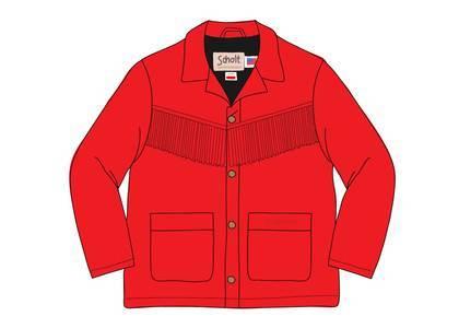 Supreme Schott Fringe Suede Coat Redの写真