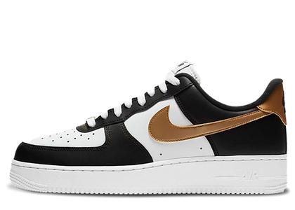 Nike Air Force 1 Low Black White Metallic Goldの写真