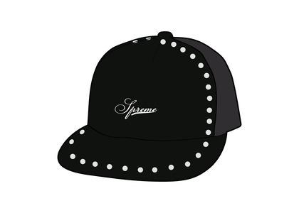 Supreme Studded Velvet Mesh Back 5-Panel Black (FW21)の写真