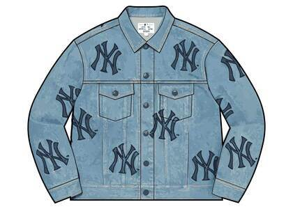Supreme New York Yankees Denim Trucker Jacket Blue (FW21)の写真