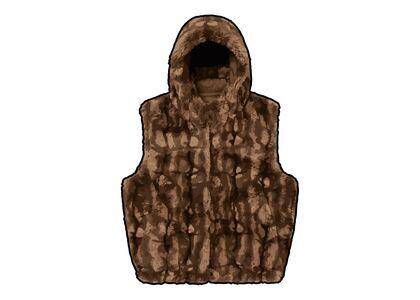Supreme Faux Fur Hooded Vest Brown (FW21)の写真