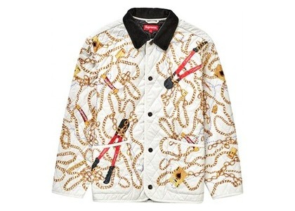Supreme Chains Quilted Jacket Whiteの写真