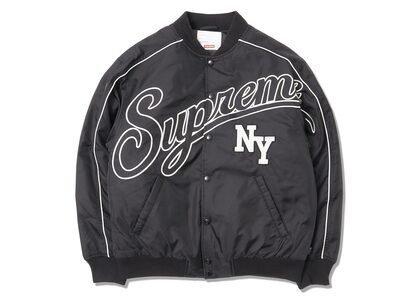 Supreme Contrast Script Varsity Jacket Blackの写真