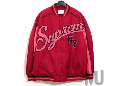Supreme Contrast Script Varsity Jacket Redの写真