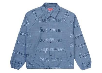 Supreme Houndstooth Logos Snap Front Jacket Blueの写真