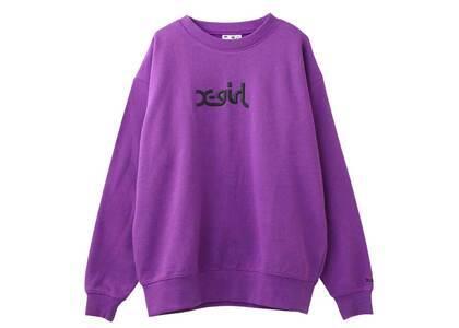 X-girl Thick Rubber Mills Logo Crew Sweat Top Purpleの写真