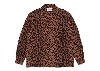 WACKO MARIA Leopard Open Collar Shirt Brownの写真