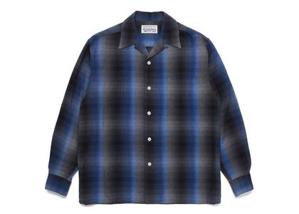 WACKO MARIA Check Open Collar Shirt Blue/Blackの写真