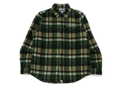 Bape Check Flannel Shirt Olive Drab (FW21)の写真
