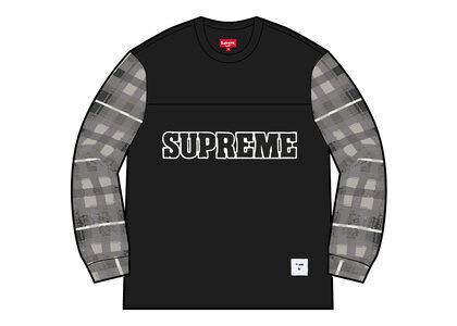 Supreme Plaid Sleeve L/S Top Black (FW21)の写真