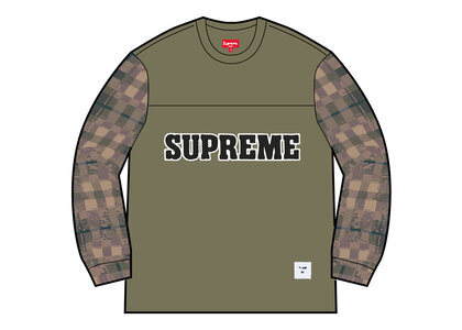 Supreme Plaid Sleeve L/S Top Khaki (FW21)の写真