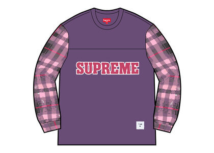 Supreme Plaid Sleeve L/S Top PUrple (FW21)の写真