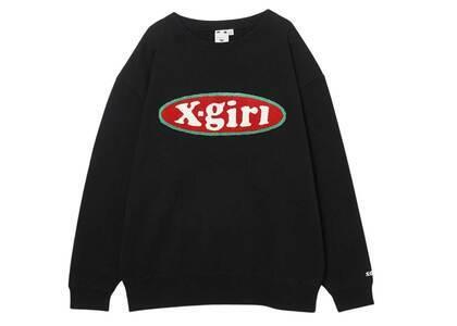 X-girl Chenille Embroidery Oval Logo Crew Sweat Top Blackの写真