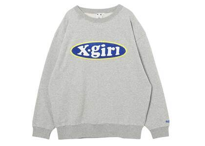 X-girl Chenille Embroidery Oval Logo Crew Sweat Top Ashの写真