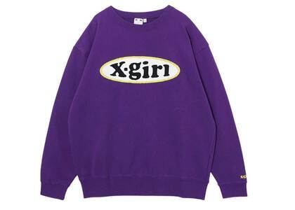X-girl Chenille Embroidery Oval Logo Crew Sweat Top Purpleの写真