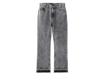 X-girl Chemical Wash Side Slit Flared Denim Pants Blackの写真