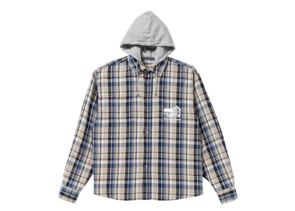 The Black Eye Patch Hooded Flannel Shirt Navy / Sand (FW21)の写真