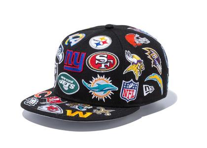 New Era 9FIFTY Team Logo All Over NFL Blackの写真