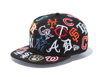New Era 9FIFTY Team Logo All Over MLB Blackの写真